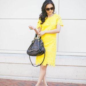 Calvin Klein Yellow Lace Dress